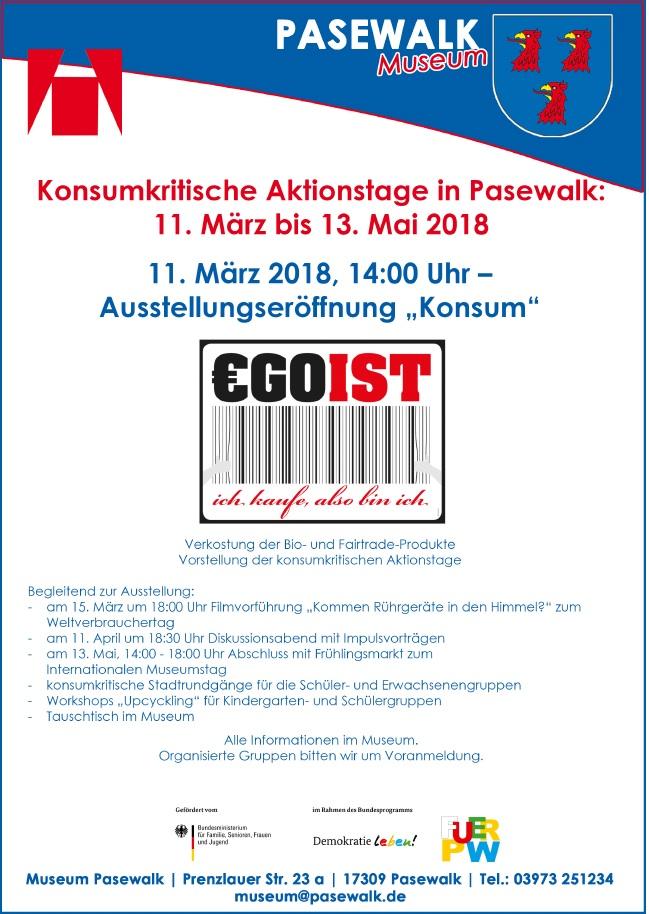 Ausstellungseroeffnung Konsumkritische Tage in Pasewalk 11. März bis 13. Mai 2018