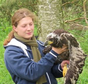 Simon Piro mit einem jungen Seeadler nach der Beringung (Foto: Naturparkarchiv)