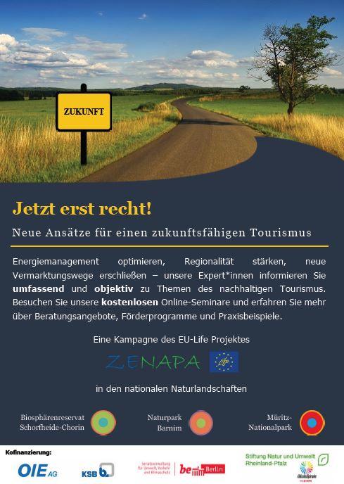 """Plakat Seite1 EU Life IP ZENAPA – Kampagne """"Jetzt erst recht! Neue Ansätze für einen zukunftsfähigen Tourismus"""""""