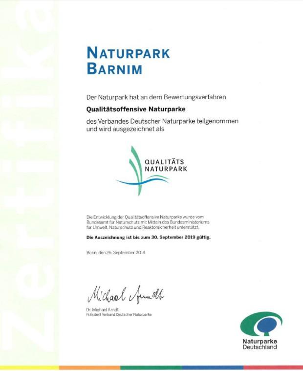 Urkunde Qualitätsnaturpark 620x759 Ausgezeichnete Qualität! Der Naturpark Barnim wird zum zweiten Mal Qualitäts Naturpark