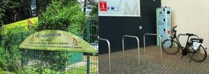links: Stromtanken im Eberswalder Zoo / rechts: Stromtanken am Stadtmuseum Eberswalde (Foto: Stadt Eberswalde)