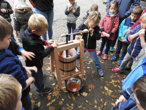 DSCN1005 620x465 Die Erstklässler der Naturpark Schule Hülsenbusch stellen Apfelsaft her