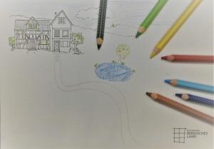 Die angefangene Zeichnung kann auf der Homepage heruntergeladen werden. (Foto: Naturpark Bergisches Land)