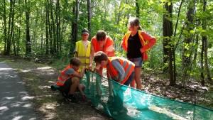 Kinder beim Aufbau Amphibienzaun_Naturwacht Dahme-Heideseen