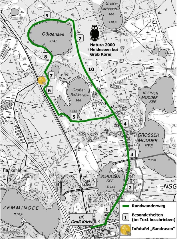 Rundweg karte 620x839 Wandertipp zwischen den Jahren: Rund um die Heideseen von Groß Köris