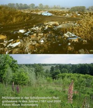Die Schulzendorfer Deponie in den Jahren 1978 und 2000 (Foto: Klaus Sonnenberg)