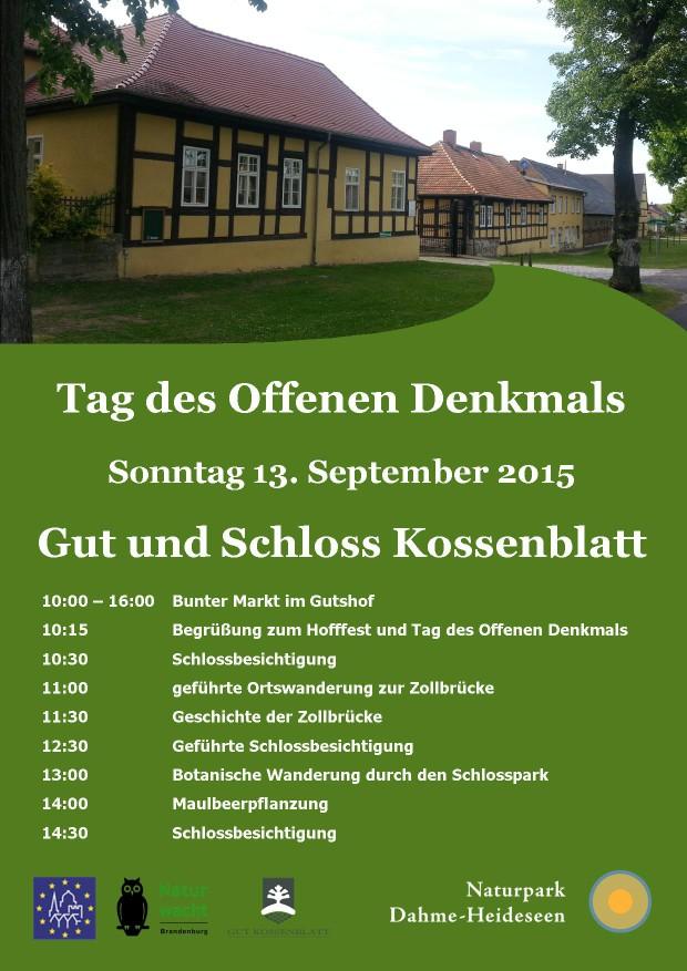 plakat denkmaltag 2015 620x877 Tag des Offenen Denkmals in Kossenblatt am 13. September