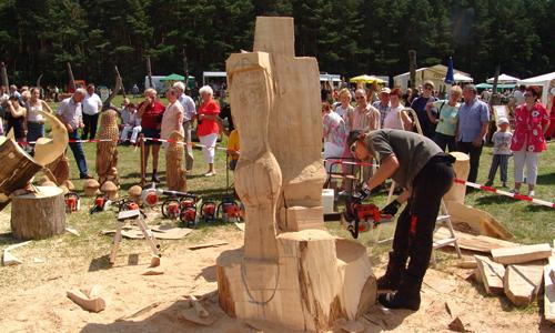 025051 40 Kettensägen Künstler treten zum Wettstreit in der Dübener Heide an