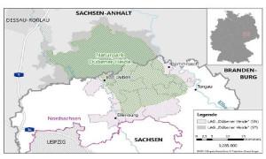 Im südlichen Teil des Naturparks (grau schraffiert) befindet sich die LAG Dübener Heide Sachsen