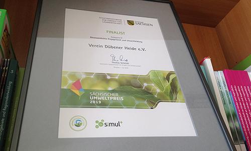 Urkunde Finalist Umweltwettbewerb SIMUL 500 300 Heideverein ist Finalist beim Sächsischen Umweltwettbewerb