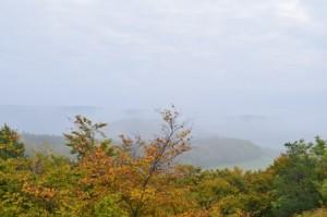 Herbstlaub und Ausblick auf Nebellandschaft (c) Geo-Naturpark Frau-Holle-Land-Holle-Land