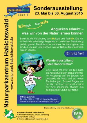 "Plakat Ideenlabor Natur EAM 300x424 ""Ideenlabor Natur"": Bionik Wanderausstellung imNaturparkzentrum Habichtswald"