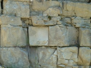 Kalksteinwand im Steinbruch