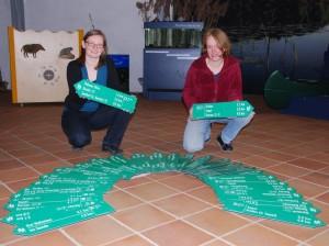 J. Schulz und S. Fuhrmann sichten die neuen Schilder 300x224 Wanderwegeprojekt – Die ersten Armwegweiser stehen