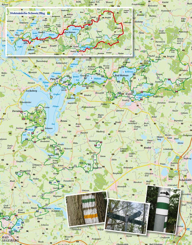 Uebersichtskarte Neuer Flyer: Wanderparadies Holsteinische Schweiz