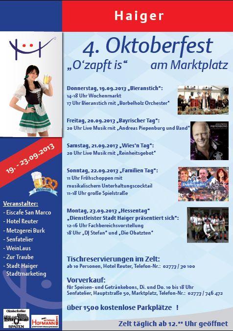 Plakat Oktoberfest 4. Oktoberfest in Haiger
