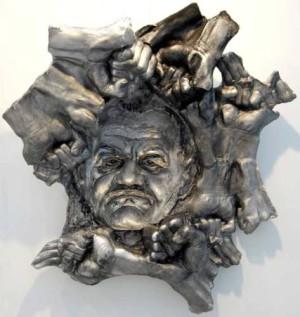 c Biedenkopf AlfredHrdlicka 2008 Negativ Positivrelief Aluminium 300x317 UBBO ENNINGA – exzellente Skulpturen Ausstellung in Biedenkopf