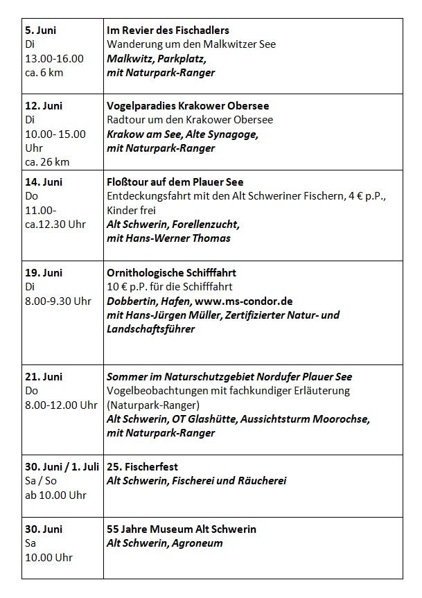 2018 Juni Veranstaltungen im Juni 2018