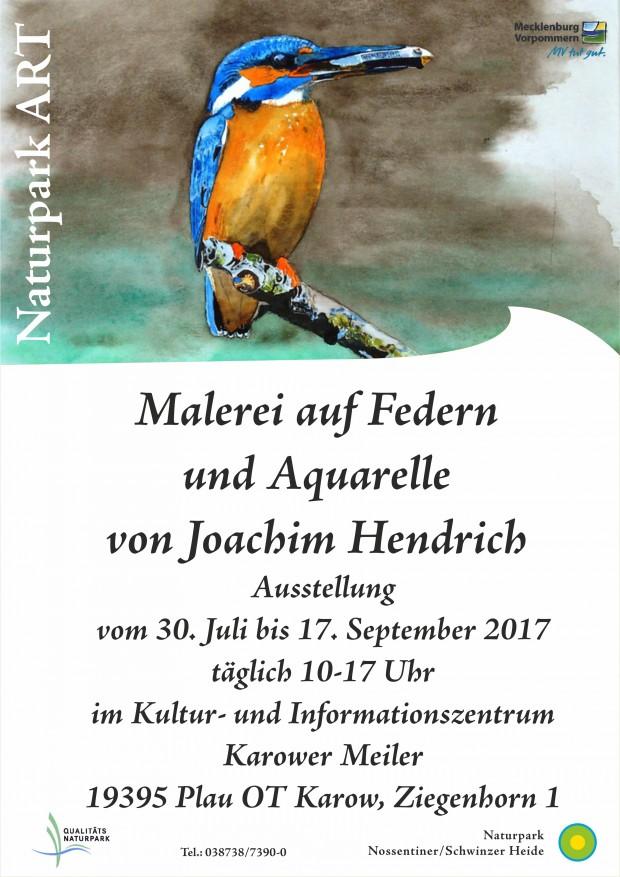 Hendrich3 620x877 Ausstellung Malerei auf Federn und Aquarelle von Joachim Hendrich im Karower Meiler