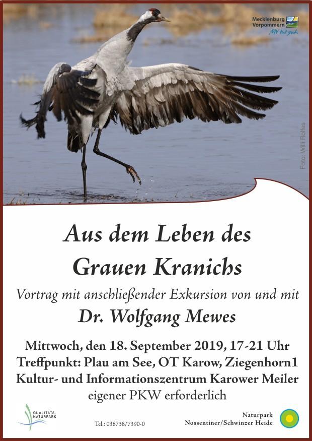 Plakat Kraniche2019 klein 620x875 Vortrag und Exkursion zu den Kranichen