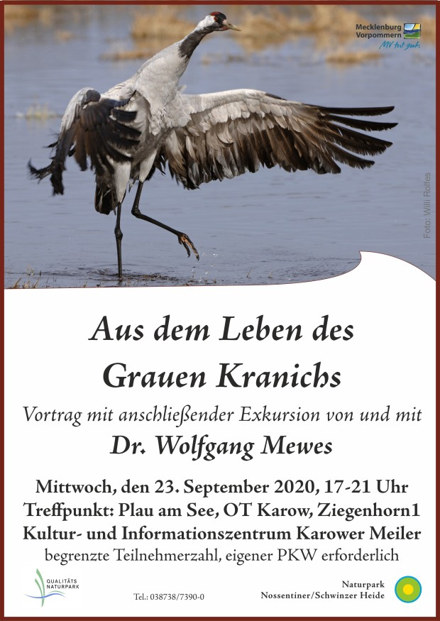 Plakat Kraniche2020 620x875 Kranich Vortrag und Exkursion mit Dr. Wolfgang Mewes