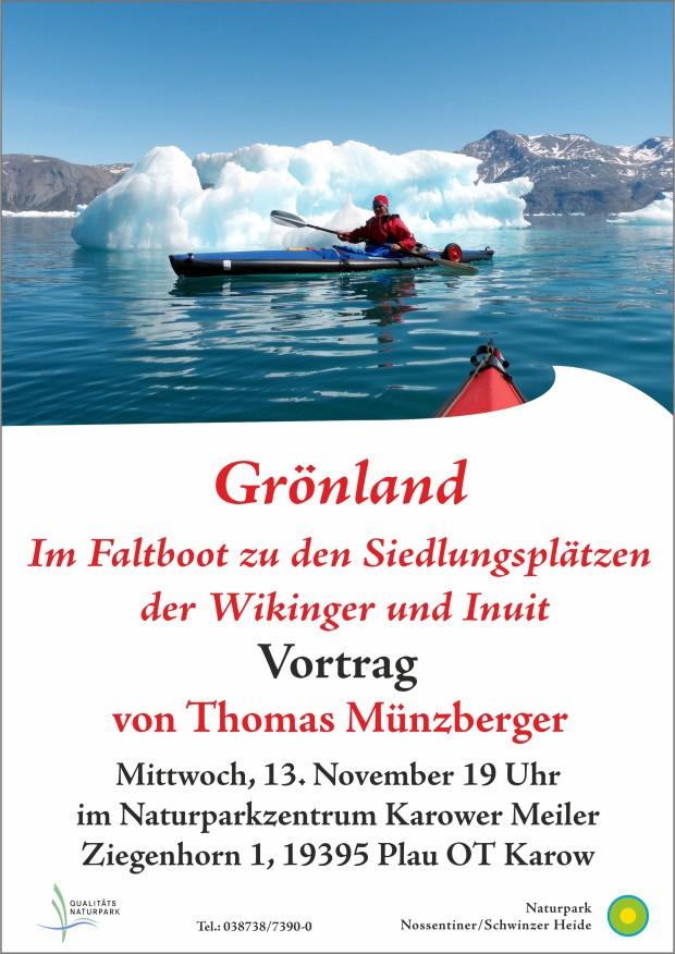 Plakat Vortrag Grönland 620x876 Vortrag Grönland   Im Faltboot zu Siedlungsplätzen der Wikinger und Inuit am 13.11.
