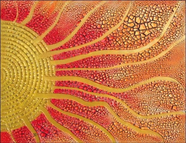 Sonnenstrahlen Acryl Spachtel auf Leinwand Hubert Meinel 620x478 Neue Sonderausstellung im Karower Meiler: Farbige Impressionen von Prof. Hubert Meinel