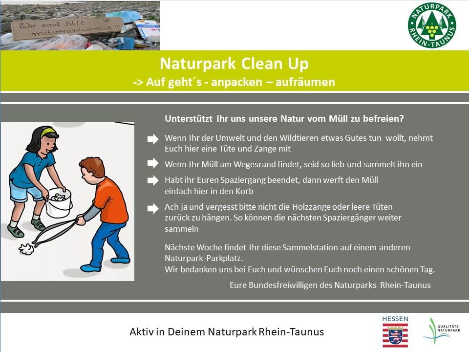 Clean Up Schild FINALE 002 Naturpark CleanUp