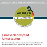 Urkunde Limeserlebnispfad Untertaunus 2018  - Copyright: Naturpark Rhein-Taunus