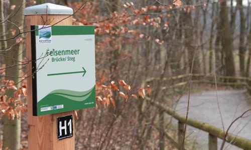 """Das neue Leitsystem führt den Besucher gezielt entlang der Highlights im Naturparkjuwel Felsenmeer Neues Leitsystem im Naturparkjuwel """"Felsenmeer"""""""