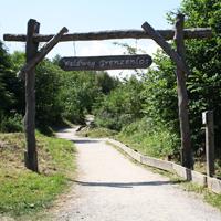 Der große Holztorbogen lädt die Besucher in den Waldweg Grenzenlos ein (Foto: Landesbetrieb Wald und Holz NRW)