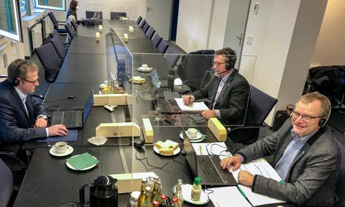 Georg Schmitz Bernd Fuhrmann und Detlef Lins v Erstmalig digitale Mitgliederversammlung seit Gründung des Naturparks