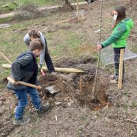 Am Ostersamstag traf sich eine kleine Gruppe, um auf dem Schulgelände die ersten 15 Bäume für eine Streuobstwiese zu pflanzen (Foto: Naturpark Sauerland Rothaargebirge e.V.)