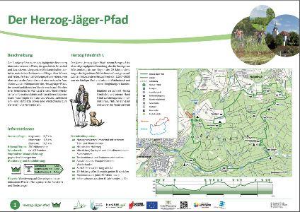 """Tafel Neuer Premiumwanderweg im Naturpark Schönbuch: """"Herzog Jäger Pfad"""" in Waldenbuch"""