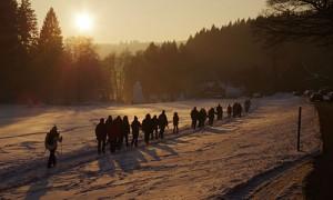 Wandergruppe in Schneelandschaft
