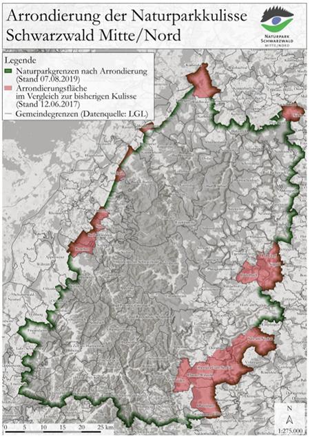 Karte Arrondierung der Naturparkfläche gestartet
