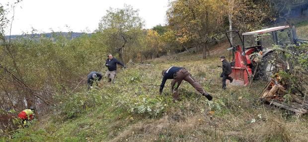 Beim Aktionstag des Grünlandprpojekts wurde der Hang von Robinien befreit Foto C. Salomon klein 620x286 Pflegeeinsatz am steilen Hang