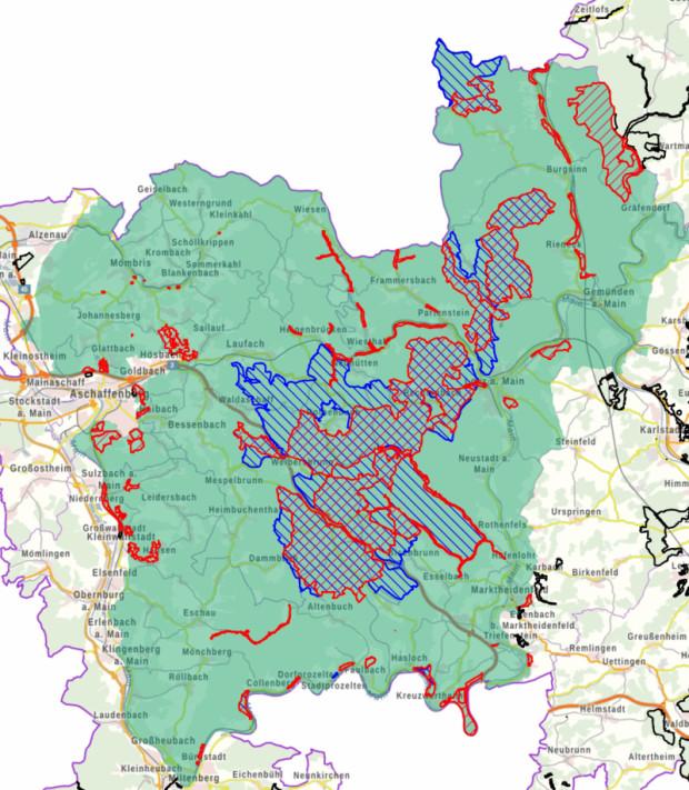 Karte Natura2000 im Naturpark Spessart 620x711 Workshop zu Öffentlichkeitsarbeiten und Natura 2000