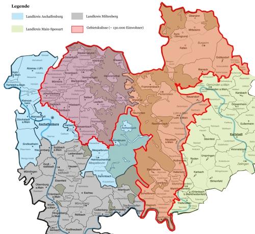 Karte LAG Gebietskulisse Jahreshauptversammlung Naturpark Spessart