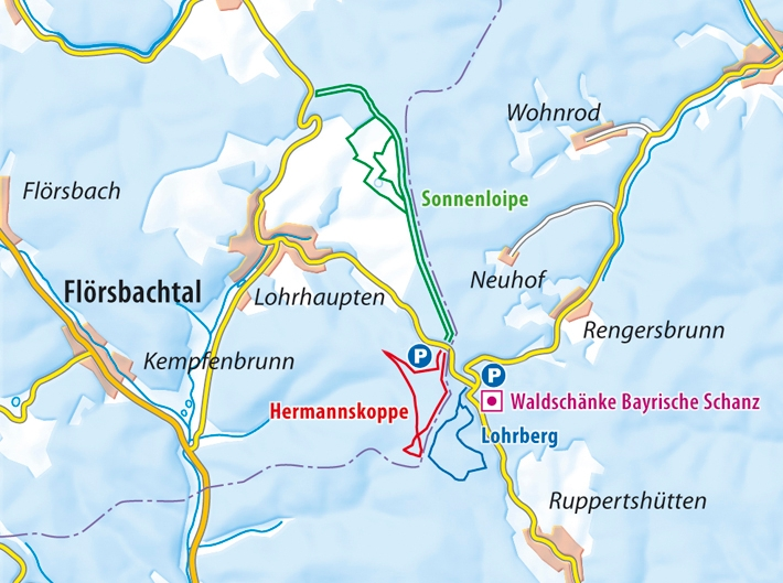 Loipenkarte Schnaz Wintersport im Spessart