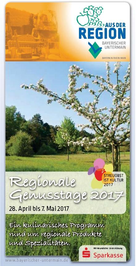 Titelseite genusstage Regionale Genusstage am Bayerischen Untermain