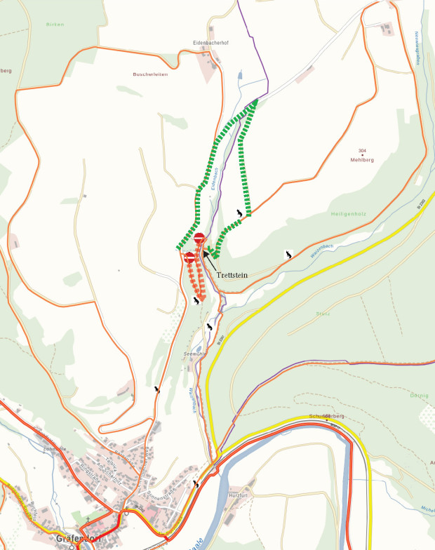 Wanderwegeumleitung Trettstein Karte 620x784 Wegsperrung am Trettstein in Gräfendorf