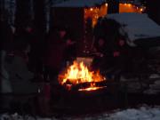 Feuer an der Waldweihnacht