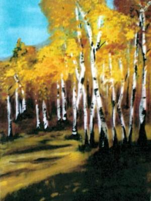 Birkenwald 300x398 Frühlingsboten   Malerei von Christel Stüwe
