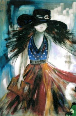 Frau1 300x460 Frühlingsboten   Malerei von Christel Stüwe