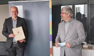 Herr Rößling mit Min Axel Vogel 300x180 Führungswechsel beim Naturschutzfonds Brandenburg
