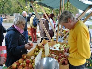 Susann Wähnert vom gleichnamigen Apfelhof mit ihrem Stand