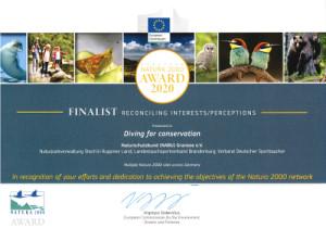 urkunde 300x210 Projekt Naturschutztauchen im Finale des NATURA 2000 Awards