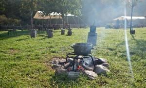 Feuer, Rauch und bunte Blätter