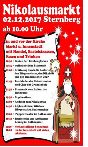 Plakat Nikolausmarkt 2017 Ü Nikolausmarkt in Sternberg